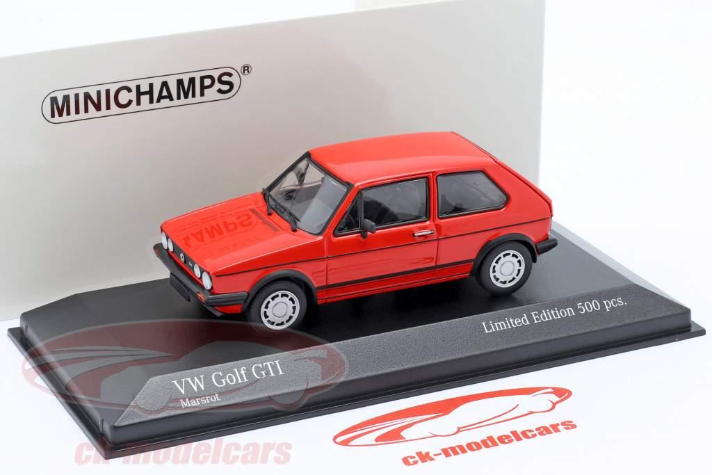 Volkswagen VW Golf 1 GTi Año de construcción 1983 rojo 1:43 Minichamps