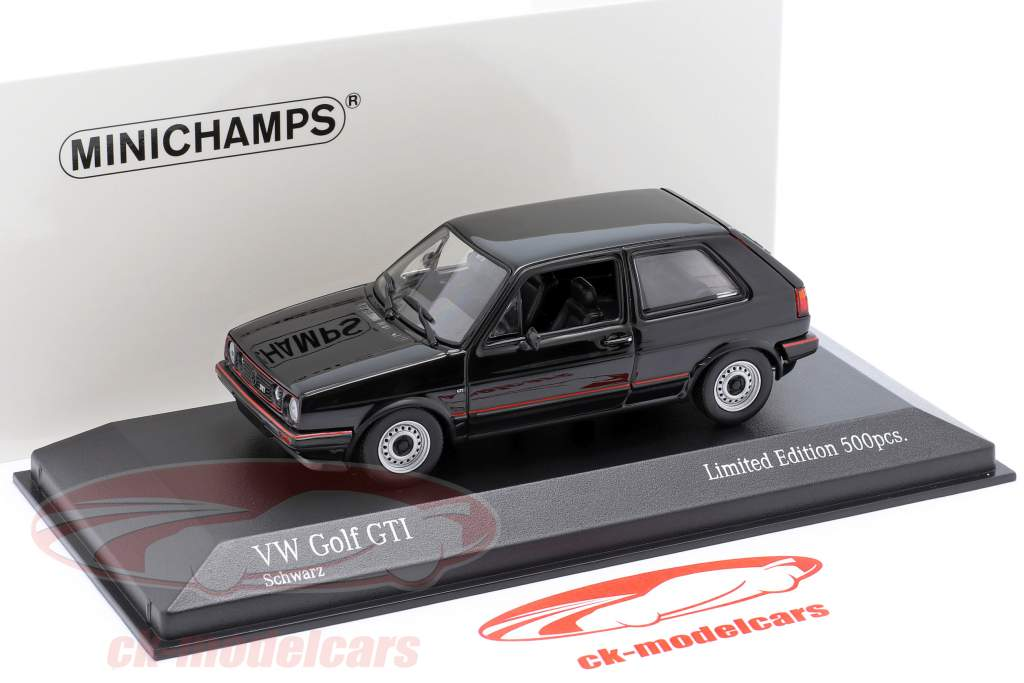Volkswagen VW Golf II GTi Byggeår 1985 sort 1:43 Minichamps