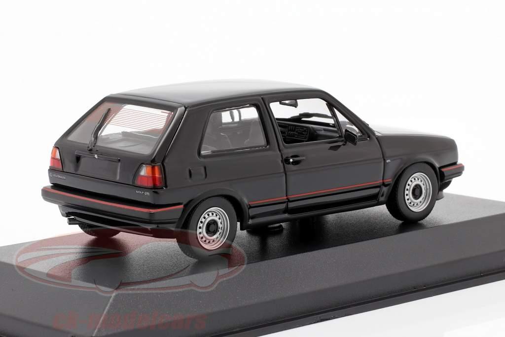 Volkswagen VW Golf II GTi Bouwjaar 1985 zwart 1:43 Minichamps