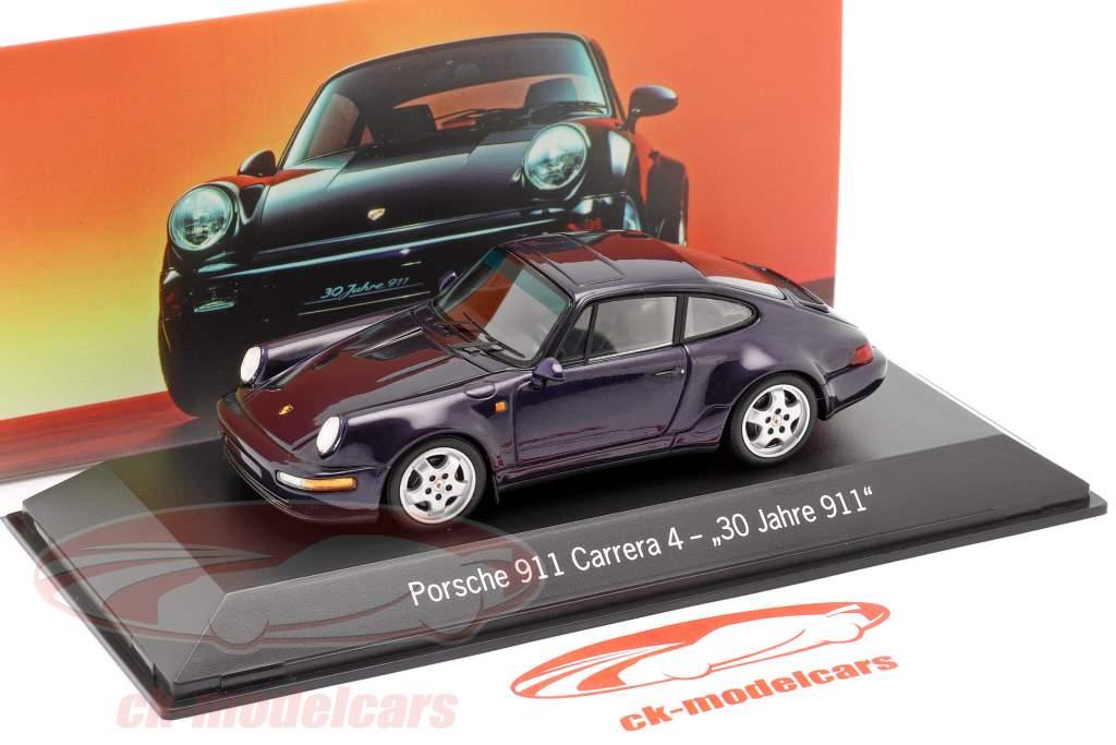 Porsche 911 Carrera 4 30 Jaren 911 Purper metalen 1:43 Spark