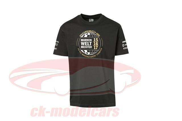 T-Shirt Porsche 919 Verdrievoudigen Merk wereldkampioen 2015 - 2017 zwart