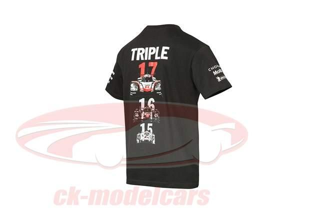 T-Shirt Porsche 919 Triplicare Campione del mondo di marca 2015 - 2017 nero