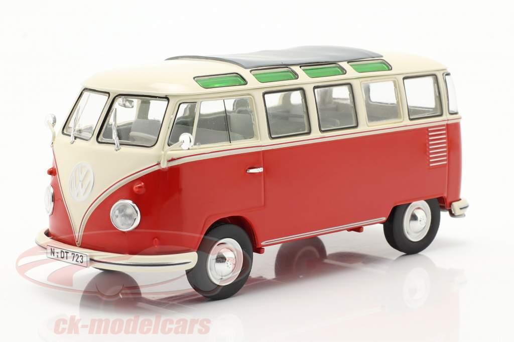 Volkswagen VW Typ 2 T1b Samba Bus rood / beige 1:32 Schuco