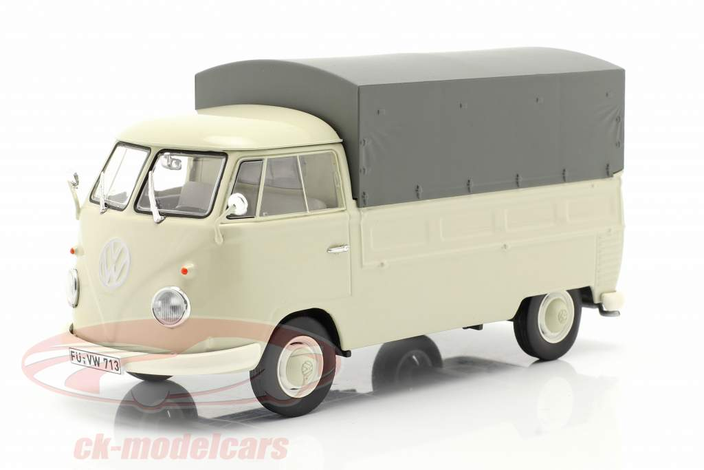 Volkswagen VW Typ 2 T1b 皮卡车 用 计划 米色 / 灰色 1:32 Schuco