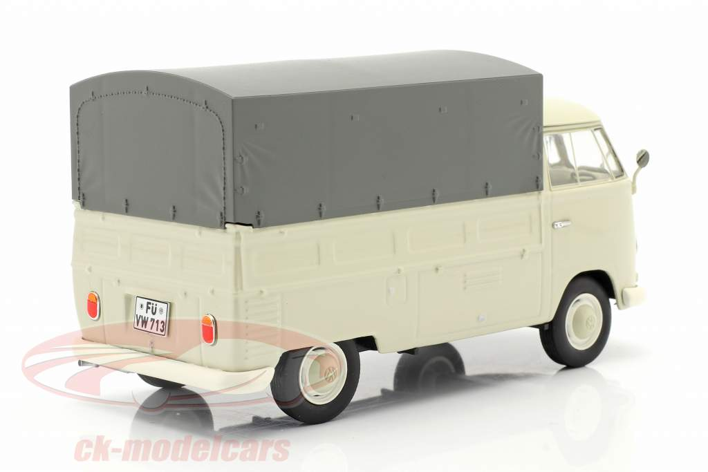Volkswagen VW Typ 2 T1b Pickup truck with cover beige / grey 1:32 Schuco