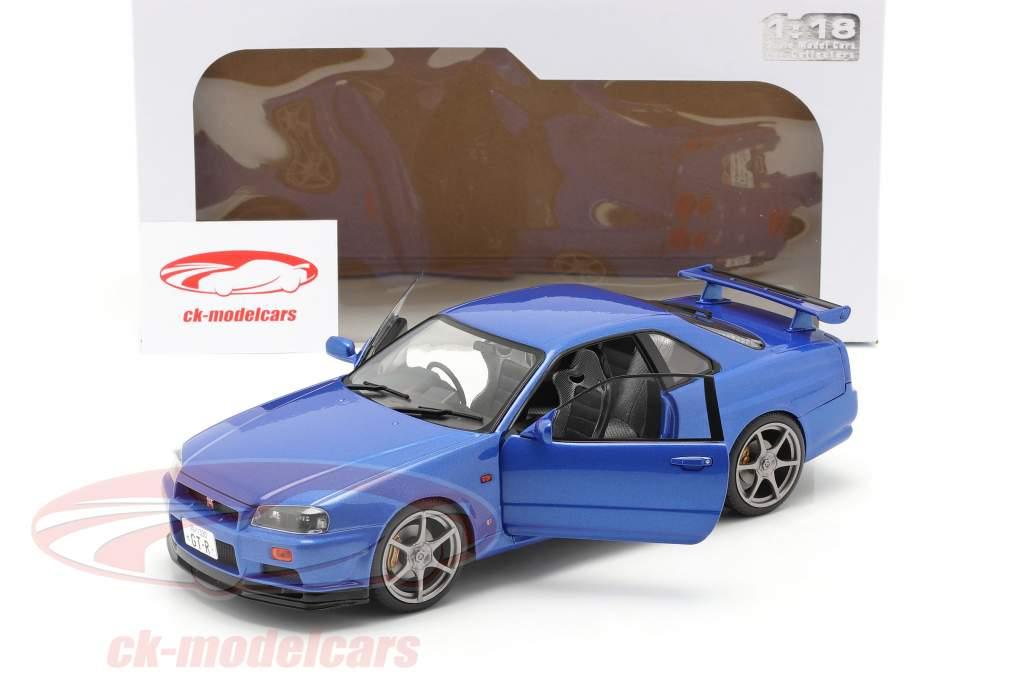 Nissan Skyline GT-R (R34) Byggeår 1999 bugten blå 1:18 Solido