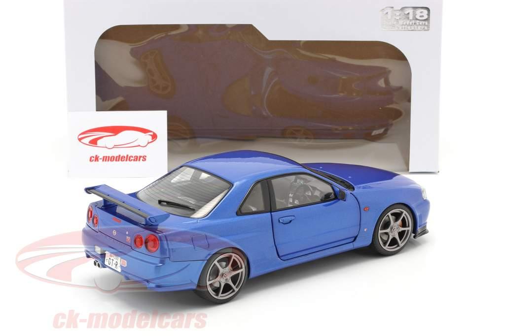 Nissan Skyline GT-R (R34) Bouwjaar 1999 bayside blauw 1:18 Solido