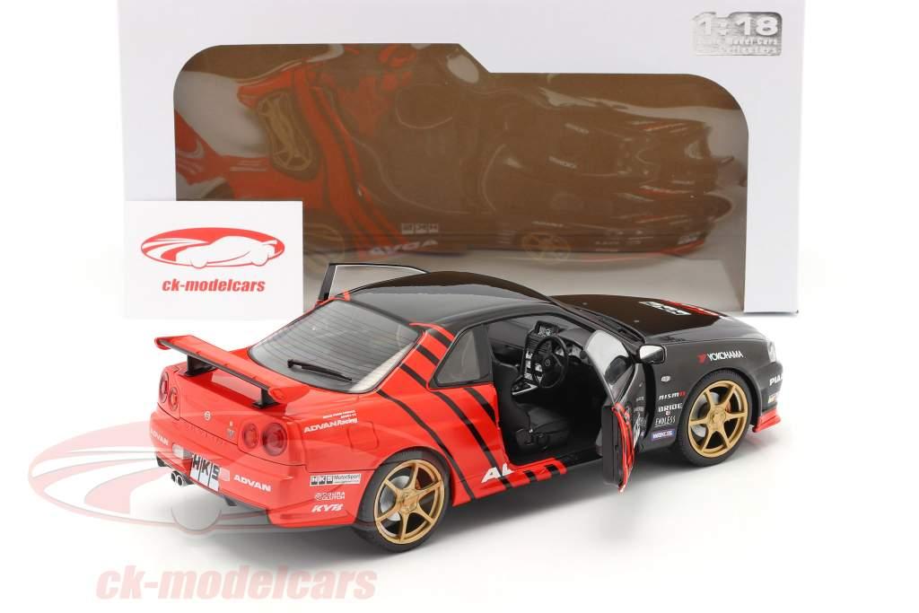 Nissan Skyline GT-R (R34) Advan Drift year 1999 black / red 1:18 Solido