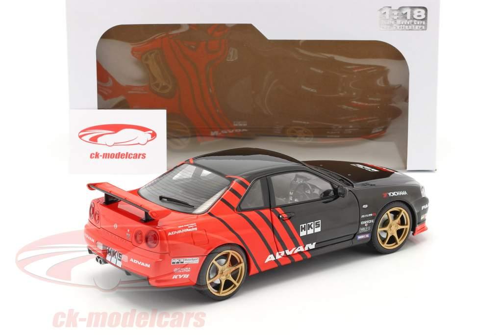 Nissan Skyline GT-R (R34) Advan Drift Byggeår 1999 sort / rød 1:18 Solido