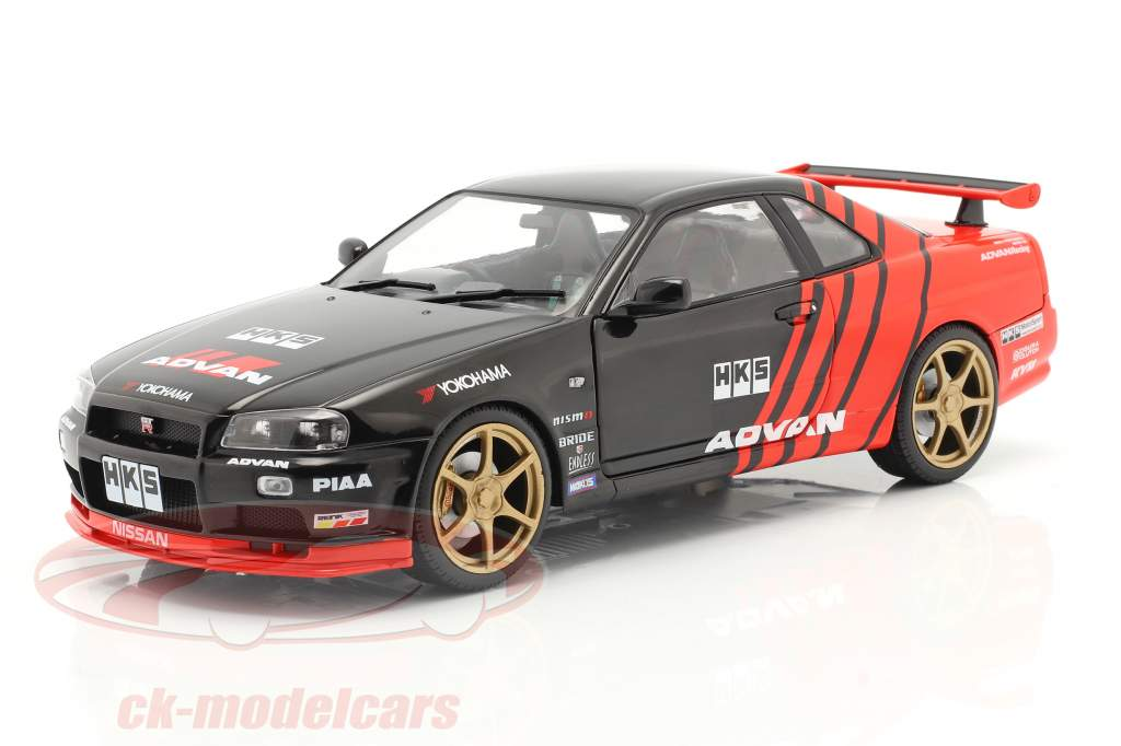 Nissan Skyline GT-R (R34) Advan Drift Baujahr 1999 schwarz / rot 1:18 Solido