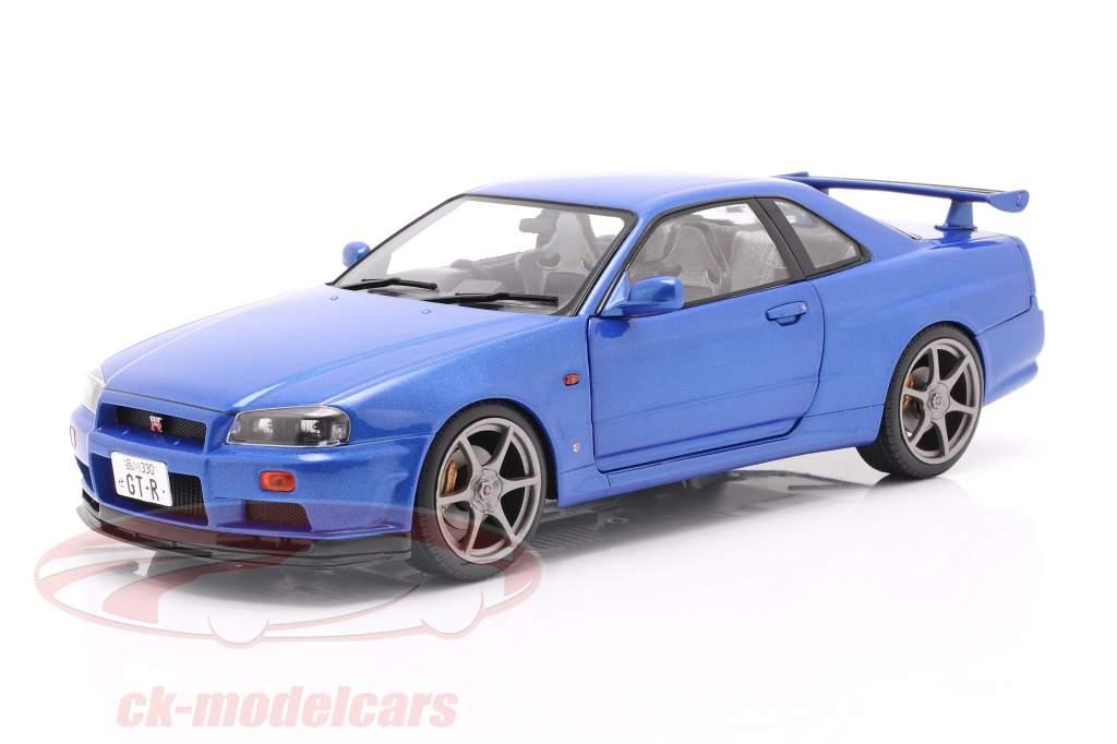 Nissan Skyline GT-R (R34) year 1999 bayside blue 1:18 Solido