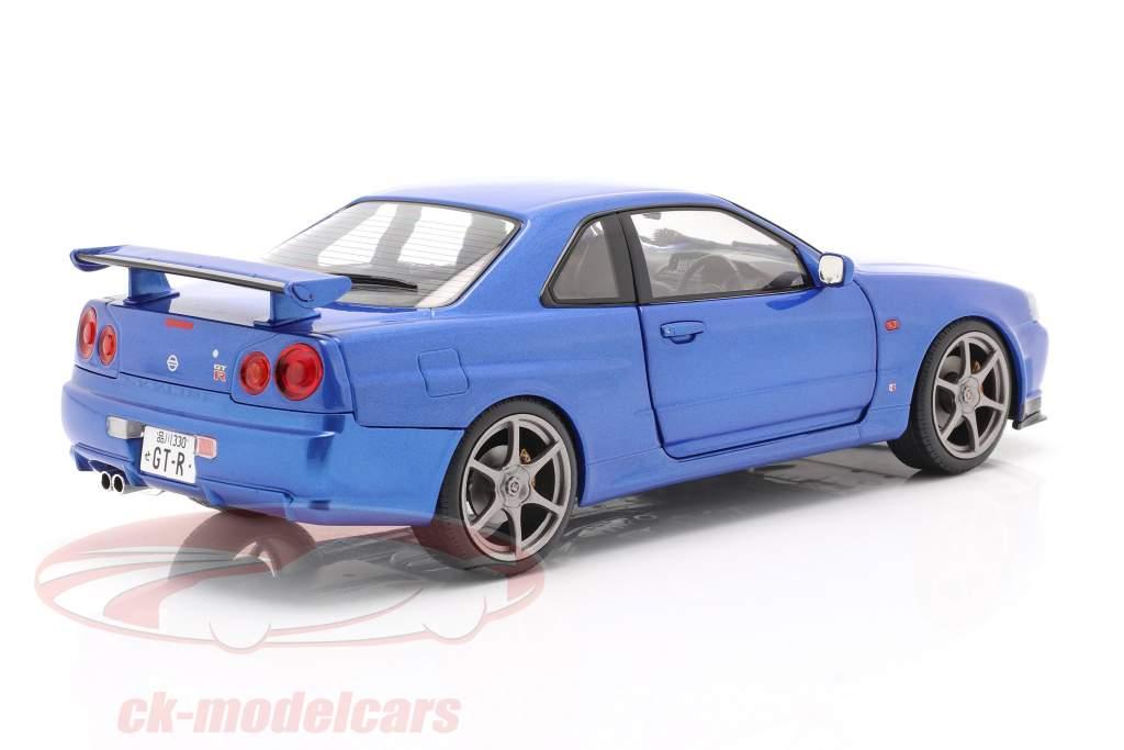 Nissan Skyline GT-R (R34) Année de construction 1999 bayside bleu 1:18 Solido
