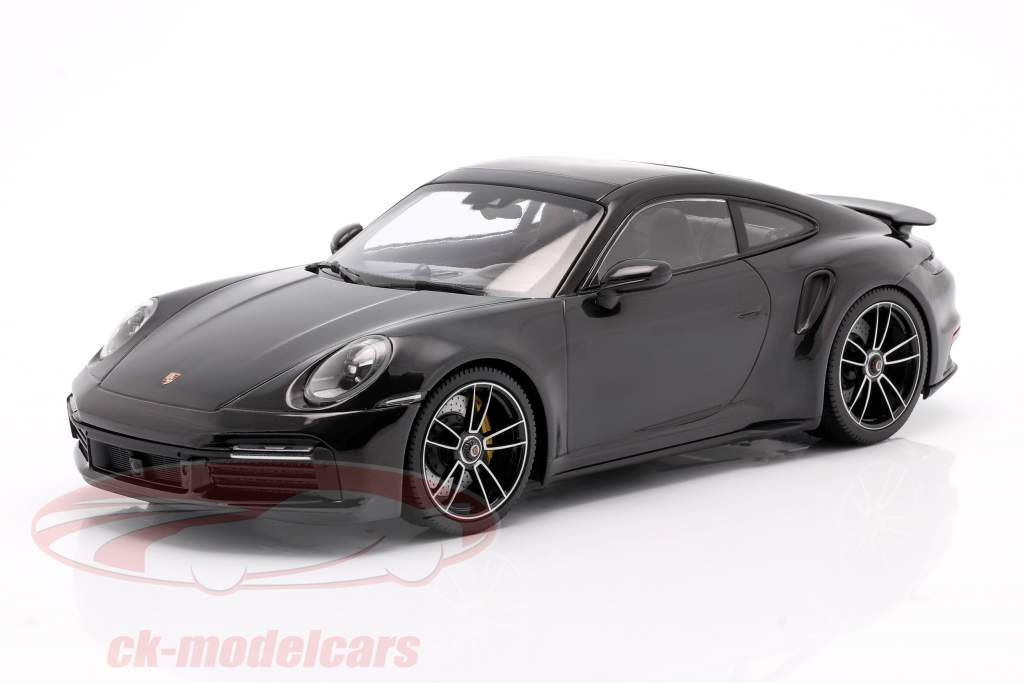 Porsche 911 (992) Turbo S year 2020 deep black metallic 1:18 Minichamps