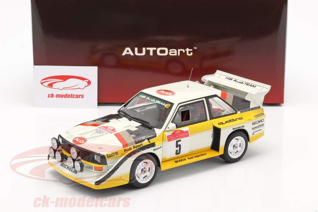 Audi Sport Quattro S1 #5 Gagnant Rallye SanRemo 1985 Röhrl, Geistdörfer 1:18 AUTOart