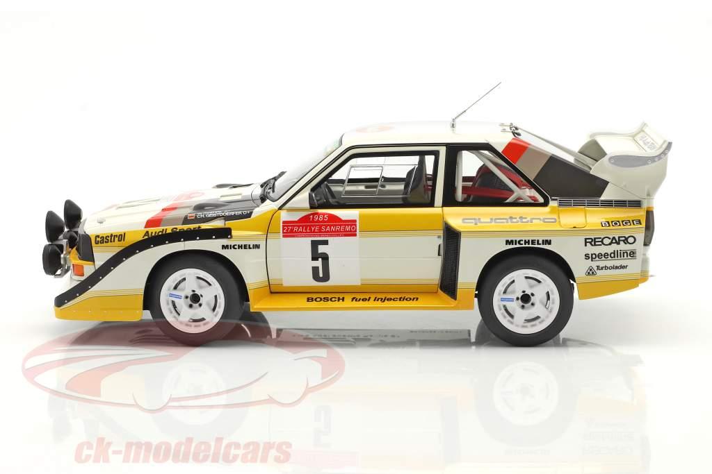 Audi Sport Quattro S1 #5 Ganador Rallye SanRemo 1985 Röhrl, Geistdörfer 1:18 AUTOart