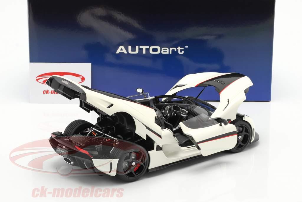 Koenigsegg Regera Bouwjaar 2016 Wit / koolstof / rood 1:18 AUTOart