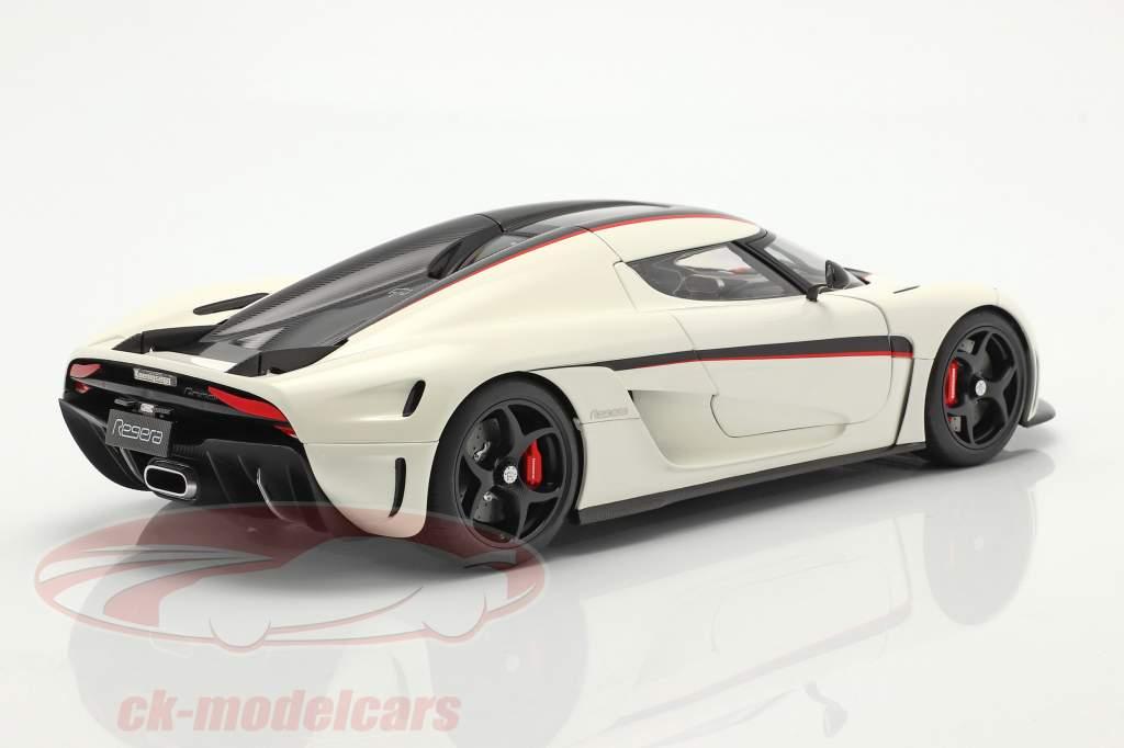 Koenigsegg Regera Année de construction 2016 blanc / carbone / rouge 1:18 AUTOart