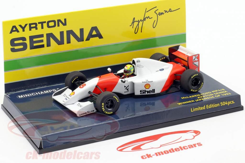 Ayrton Senna McLaren MP4/8 #8 vencedora Japão GP Fórmula 1 1993 1:43 Minichamps