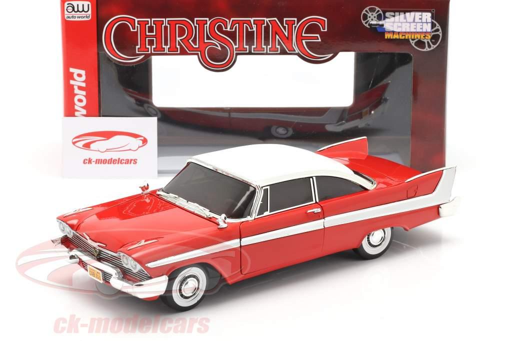 Plymouth Fury Ano de construção 1958 Filme Christine (1983) vermelho / Branco 1:18 AutoWorld