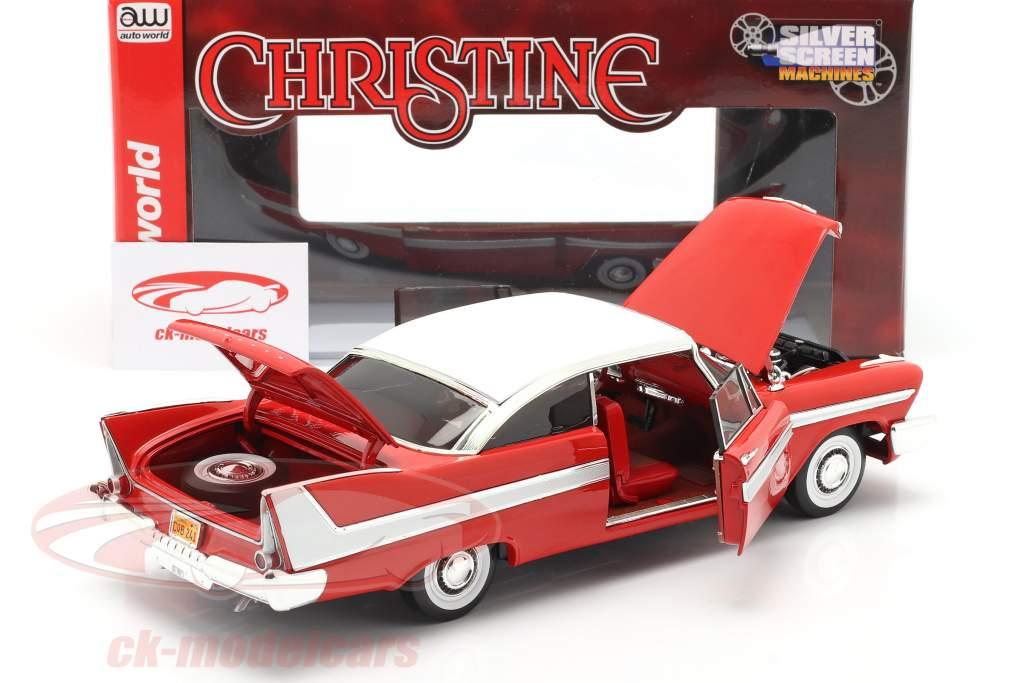 Plymouth Fury Byggeår 1958 Film Christine (1983) rød / hvid 1:18 AutoWorld