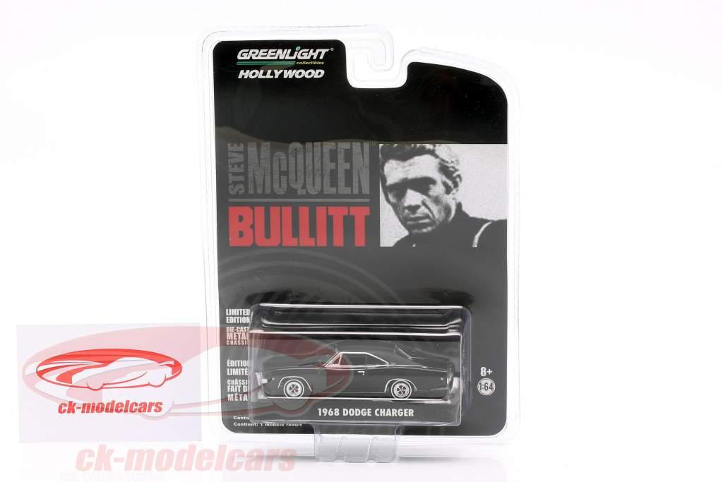 Dodge Charger Steve McQueen Filme Bullitt (1968) Preto 1:64 Greenlight