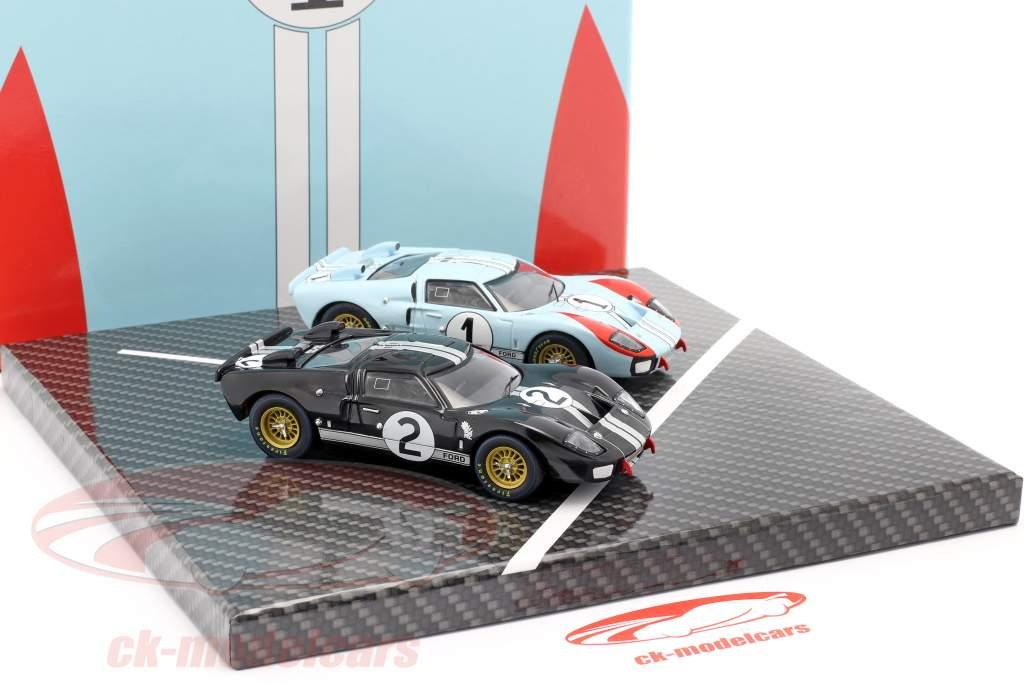 2-Car Set Ford GT40 MK II #2 #1 Winnaar en 2e 24h LeMans 1966 1:43 CMR