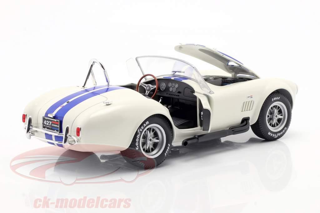 Shelby AC Cobra 427 Hardtop Byggeår 1965 hvid / blå 1:18 Solido