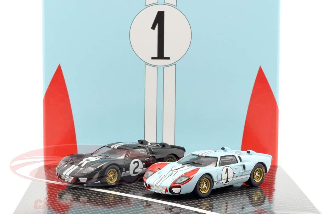 2-Car Set Ford GT40 MK II #2 #1 Vincitore e 2 ° 24h LeMans 1966 1:43 CMR