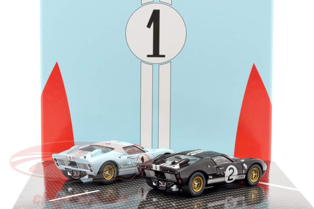 2-Car Set Ford GT40 MK II #2 #1 Ganador y 2do 24h LeMans 1966 1:43 CMR