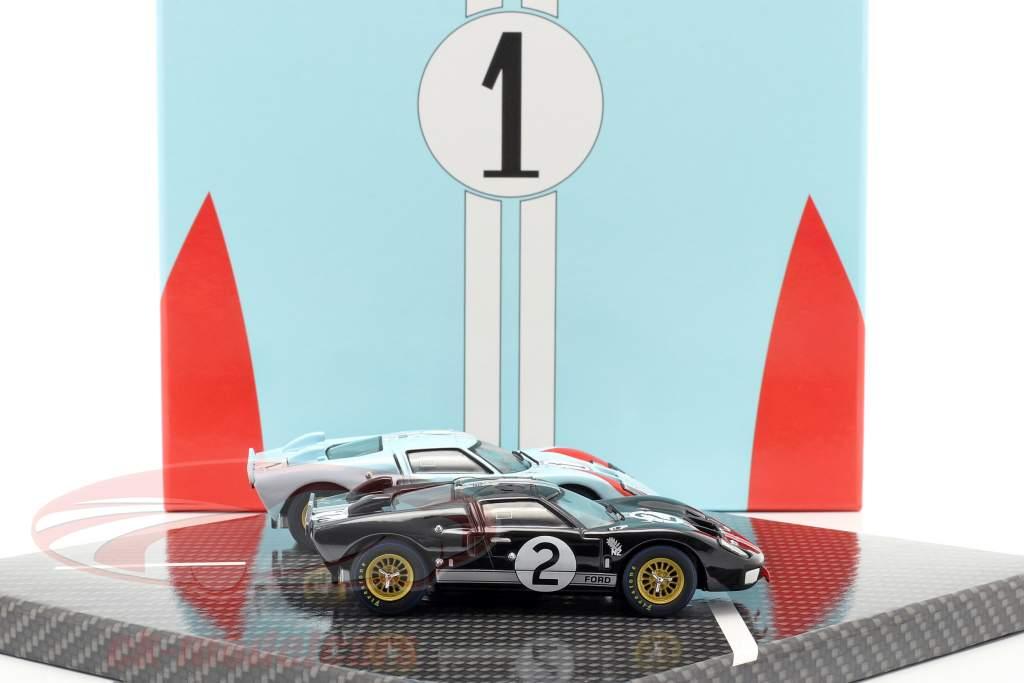 2-Car Set Ford GT40 MK II #2 #1 Vencedora e 2ª 24h LeMans 1966 1:43 CMR