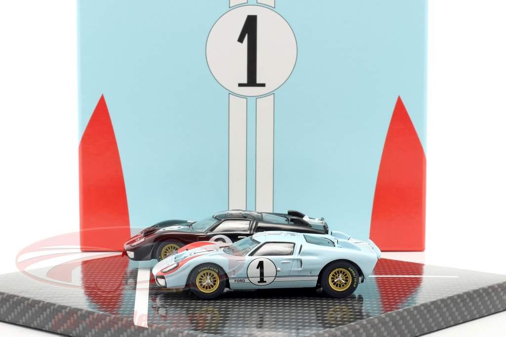 2-Car Set Ford GT40 MK II #2 #1 Gagnant et 2e 24h LeMans 1966 1:43 CMR