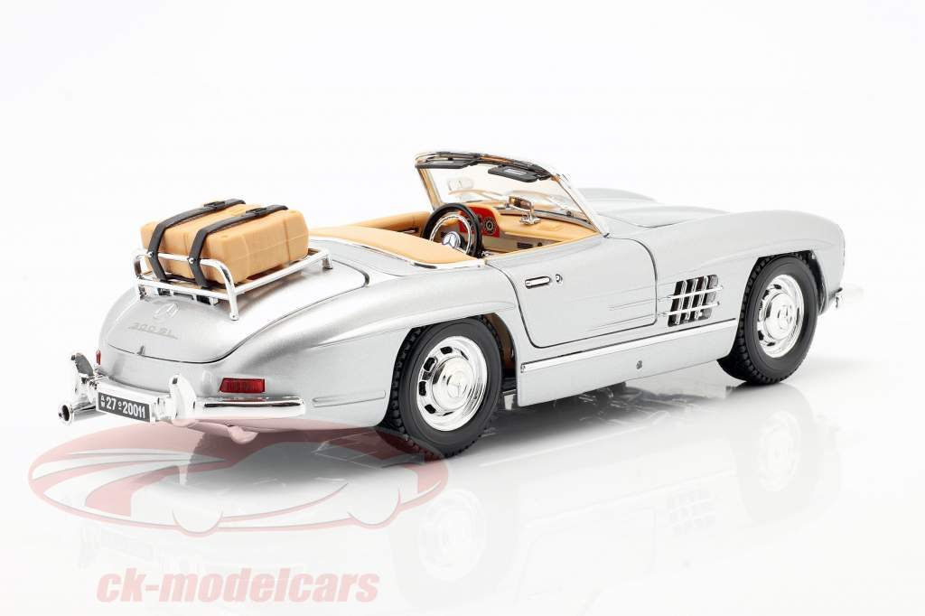 Mercedes-300 SL Turismo Ano 1957 prata 1:18 Bburago