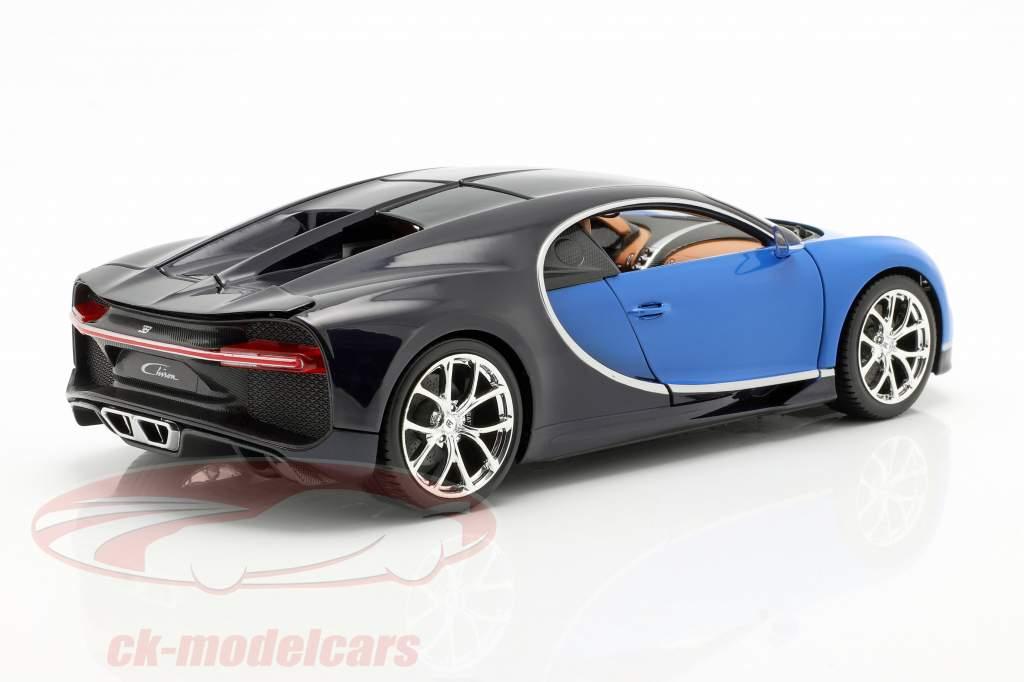 Bugatti Chiron ano 2016 azul / azul escuro 1:18 Bburago