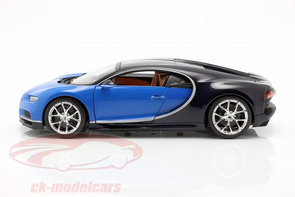 Bugatti Chiron jaar 2016 blauw / donkerblauw 1:18 Bburago