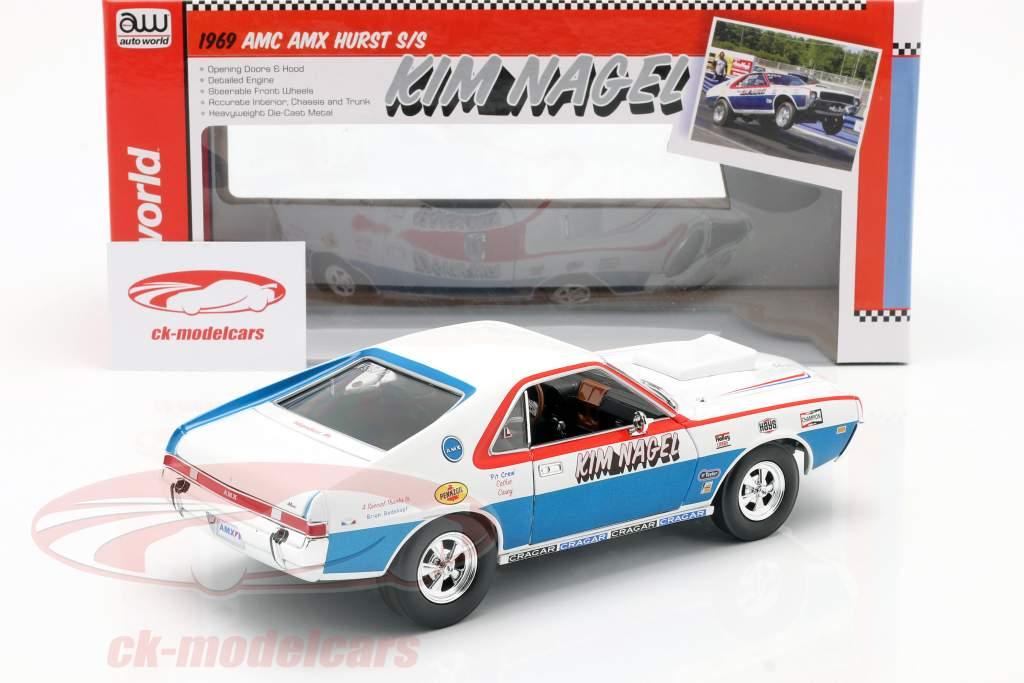 AMC AMX Hurst S/S year 1969 Kim Nagel white / blue / red 1:18 autoworld
