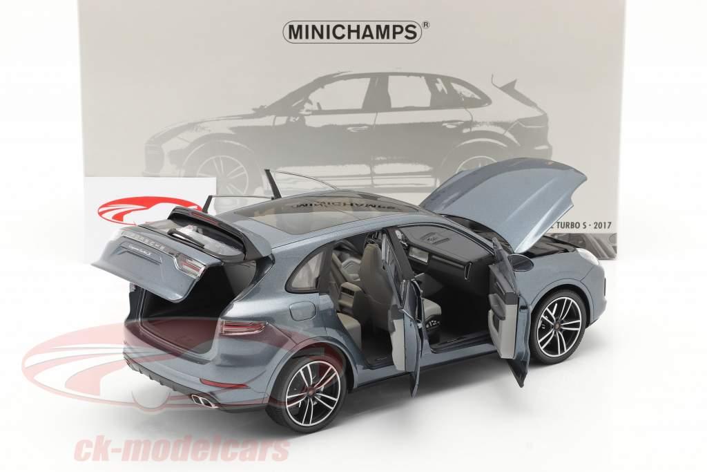 Porsche Cayenne Turbo S Año de construcción 2017 azul metálico 1:18 Minichamps