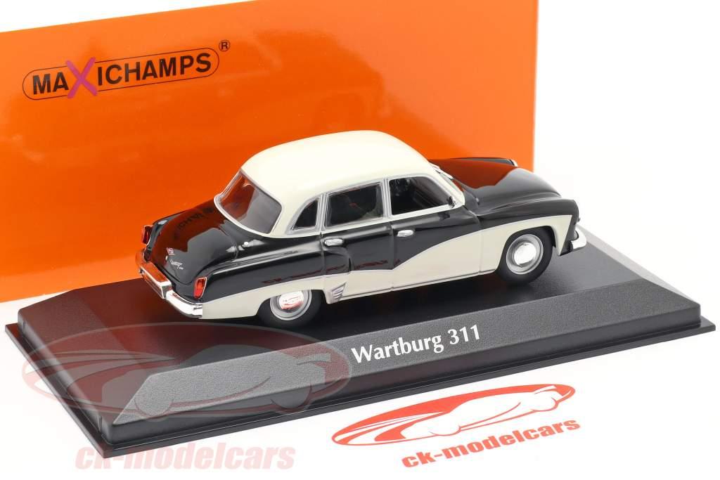 Wartburg 311 år 1959 sort / hvid 1:43 Minichamps