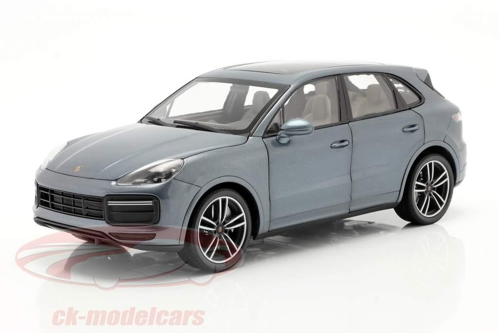 Porsche Cayenne Turbo S Année de construction 2017 bleu métallique 1:18 Minichamps
