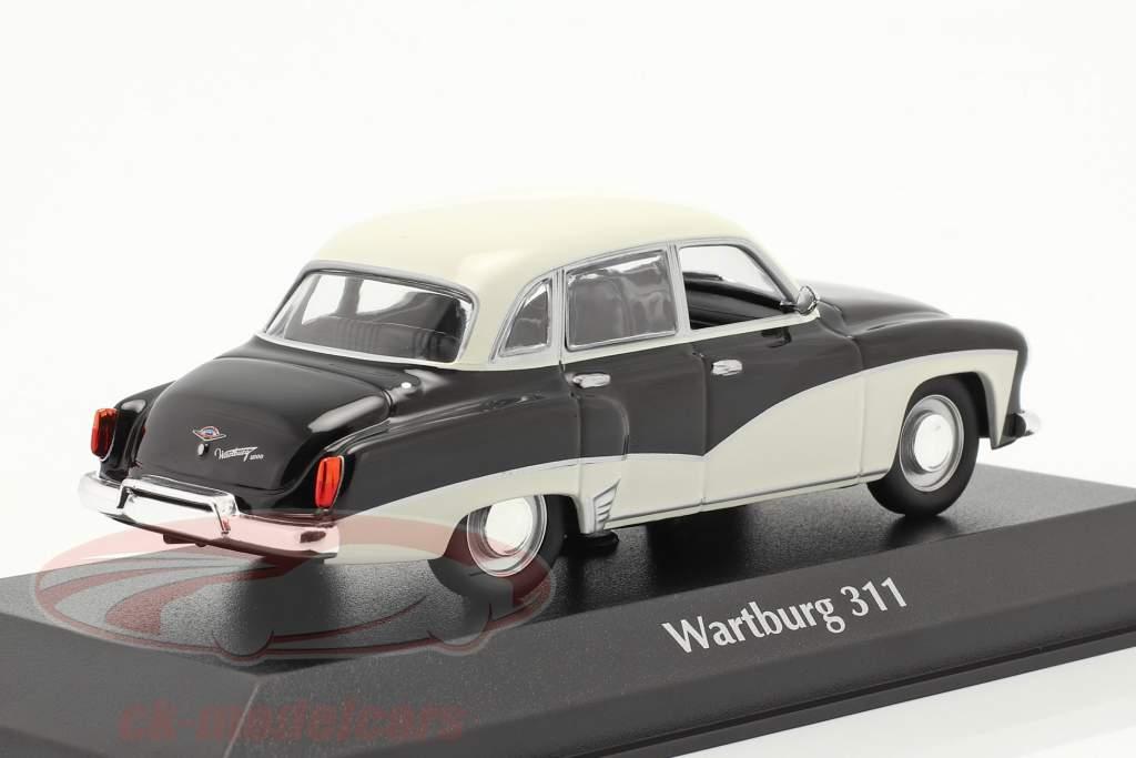 Wartburg 311 jaar 1959 zwart / wit 1:43 Minichamps