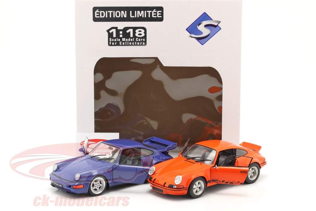 2-Car Set Porsche 911 Carrera RSR & Porsche 911 Carrera RS (964) orange / blau 1:18 Solido