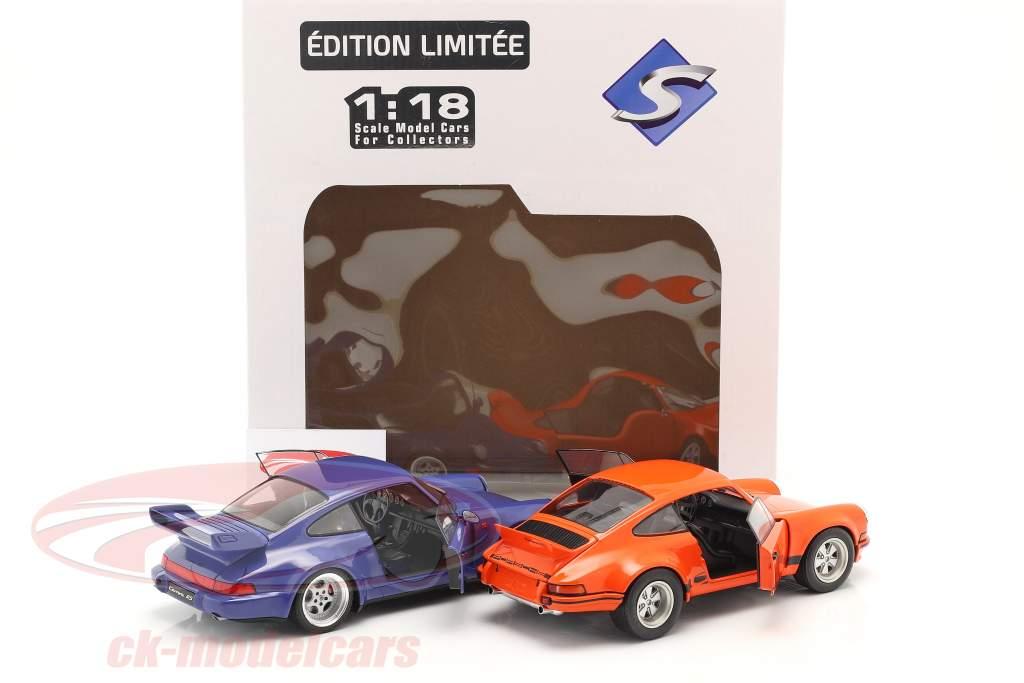 2-bil sæt Porsche 911 Carrera RSR & Porsche 911 Carrera RS (964) orange / blå 1:18 Solido