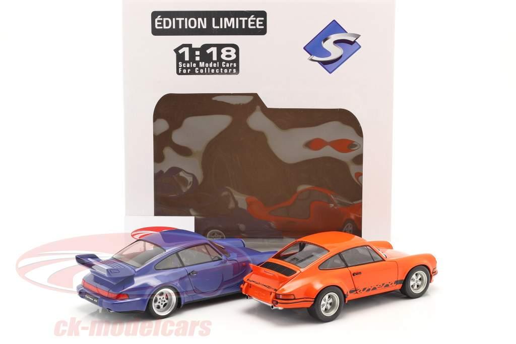 2辆 组 Porsche 911 Carrera RSR & Porsche 911 Carrera RS (964) 橙子 / 蓝色 1:18 Solido