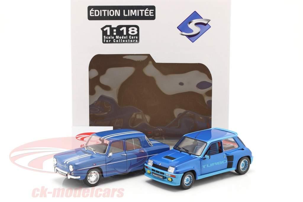 2-bil sæt Renault R5 Turbo & Renault R8 Gordini blå 1:18 Solido