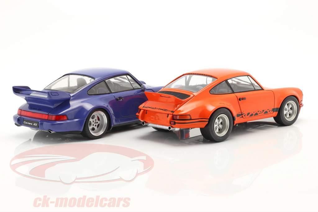 2 coches conjunto Porsche 911 Carrera RSR & Porsche 911 Carrera RS (964) naranja / azul 1:18 Solido