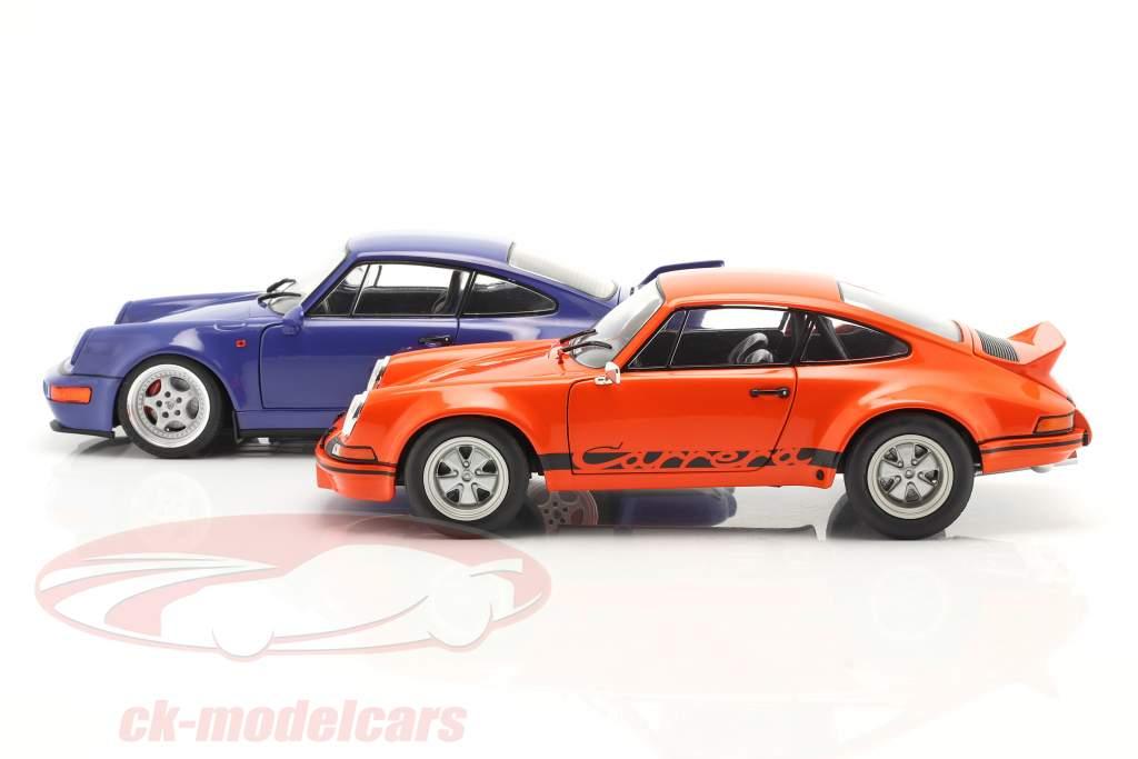 2 carros conjunto Porsche 911 Carrera RSR & Porsche 911 Carrera RS (964) laranja / azul 1:18 Solido