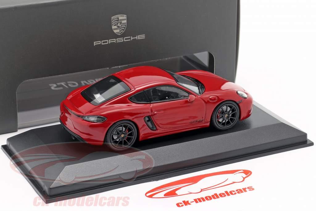 Porsche 718 Cayman GTS 4.0 karmijn rood / zwart 1:43 Minichamps