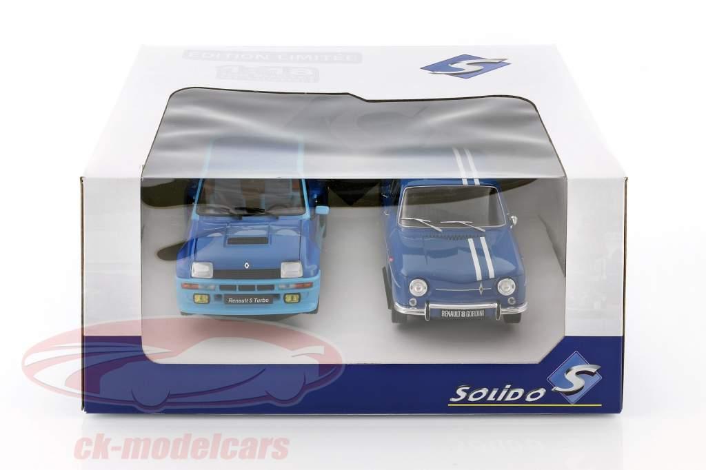 2辆 组 Renault R5 Turbo & Renault R8 Gordini 蓝色 1:18 Solido