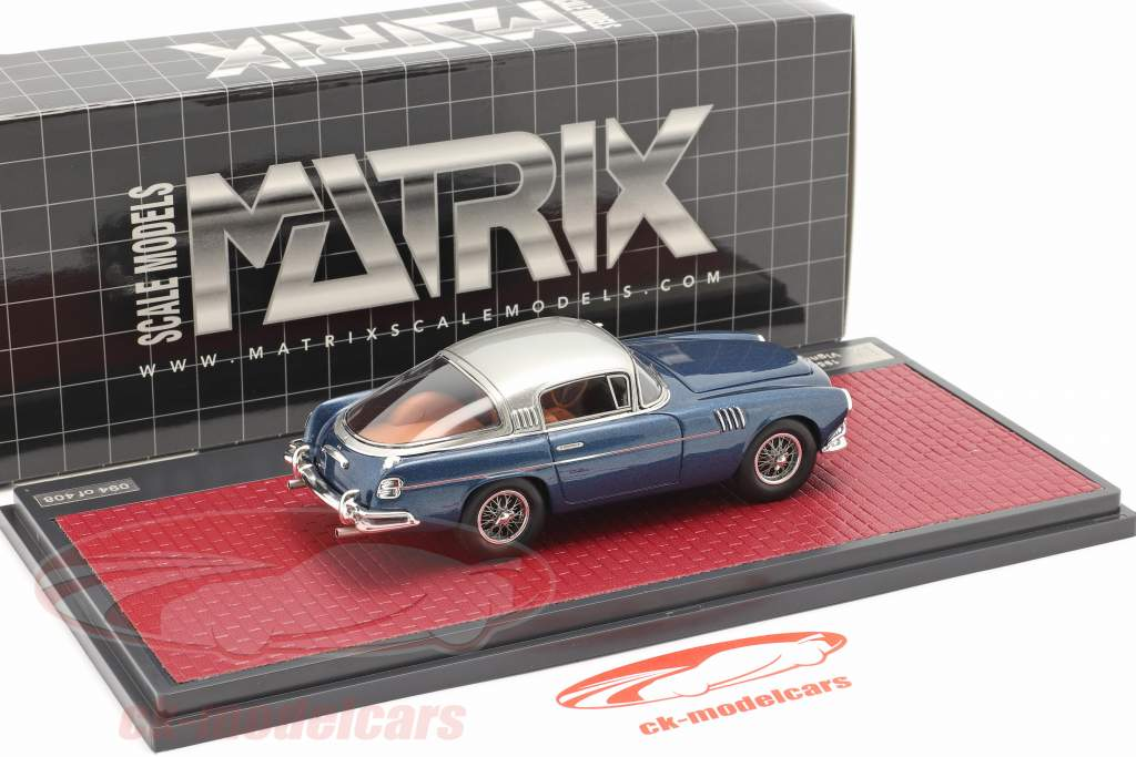 Aston Martin DB2/4 Vignale HRH Rey Baudouin 1954 azul metálico 1:43 Matrix