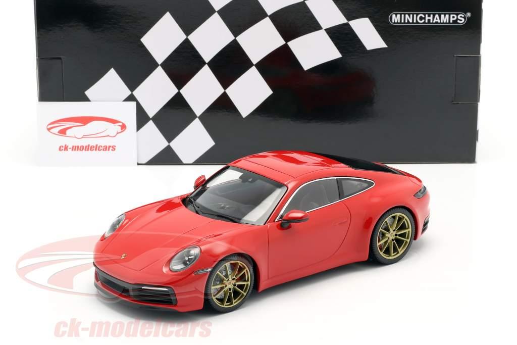 Porsche 911 (992) Carrera 4S Année de construction 2019 gardes rouge 1:18 Minichamps