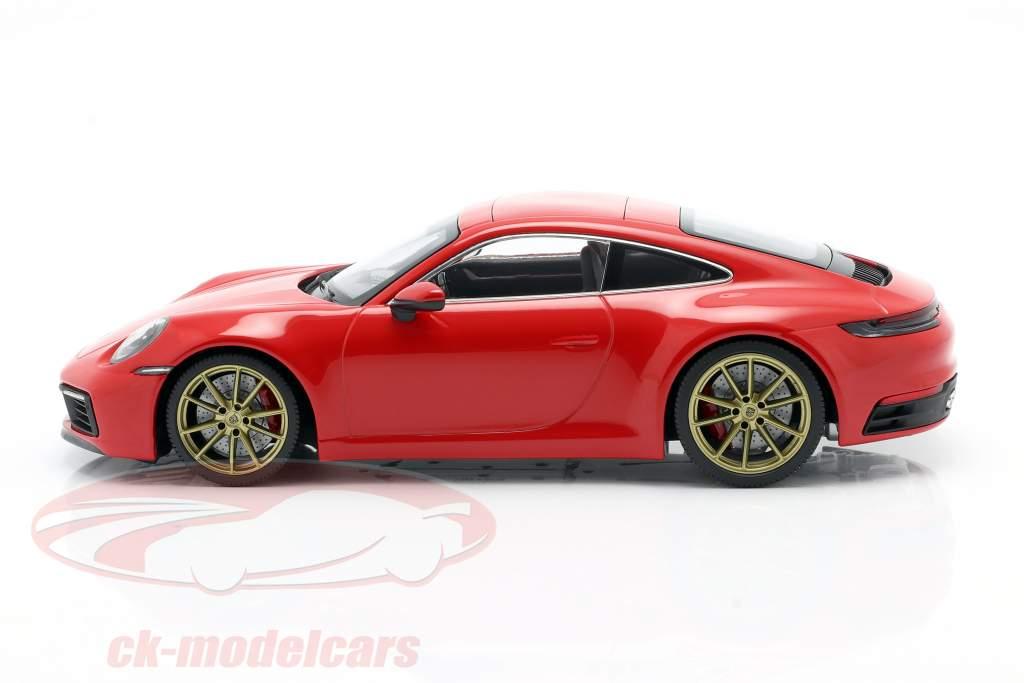 Porsche 911 (992) Carrera 4S Anno di costruzione 2019 guardie ✔ rosso 1:18 Minichamps